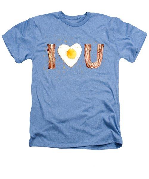 Bacon And Egg I Heart You Watercolor Heathers T-Shirt by Olga Shvartsur