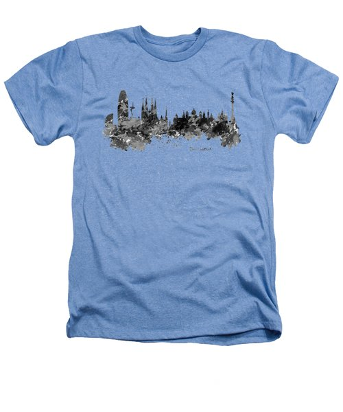 Barcelona Black And White Watercolor Skyline Heathers T-Shirt by Marian Voicu