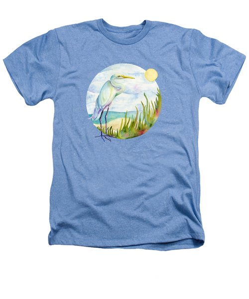 Beach Heron Heathers T-Shirt by Amy Kirkpatrick