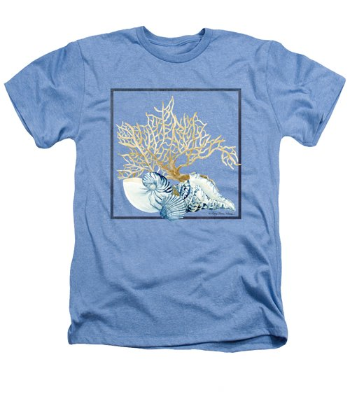 Beach House Nautilus Scallop N Conch With Tan Fan Coral Heathers T-Shirt by Audrey Jeanne Roberts