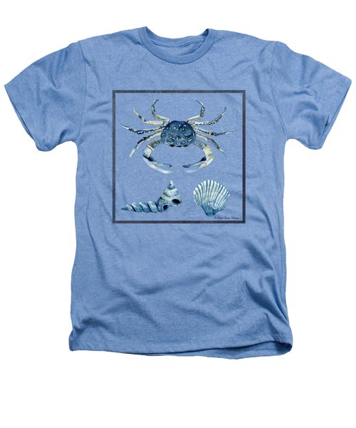 Beach House Sea Life Crab Turban Shell N Scallop Heathers T-Shirt by Audrey Jeanne Roberts