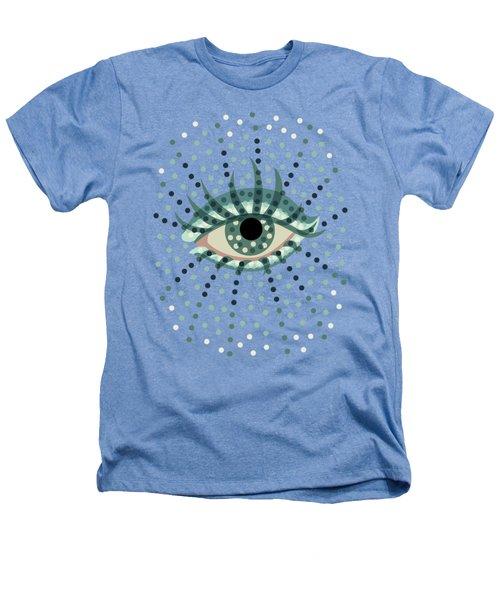 Beautiful Abstract Dotted Blue Eye Heathers T-Shirt by Boriana Giormova