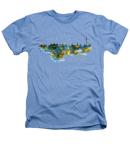 Berlin Watercolor Skyline Heathers T-Shirt by Marian Voicu