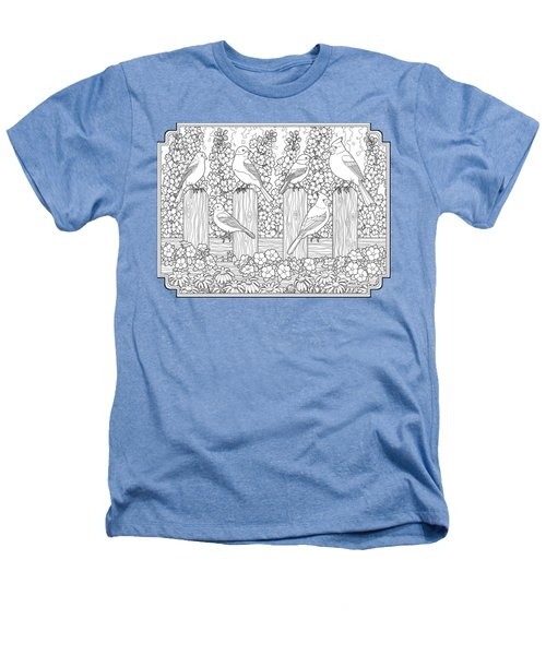Birds In Flower Garden Coloring Page Heathers T-Shirt by Crista Forest
