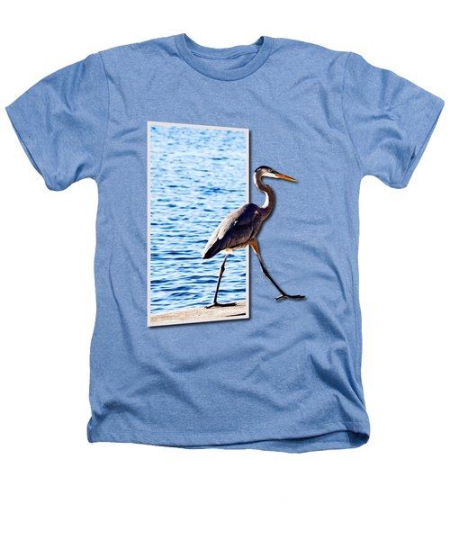 Blue Heron Strutting Out Of Frame Heathers T-Shirt by Roger Wedegis