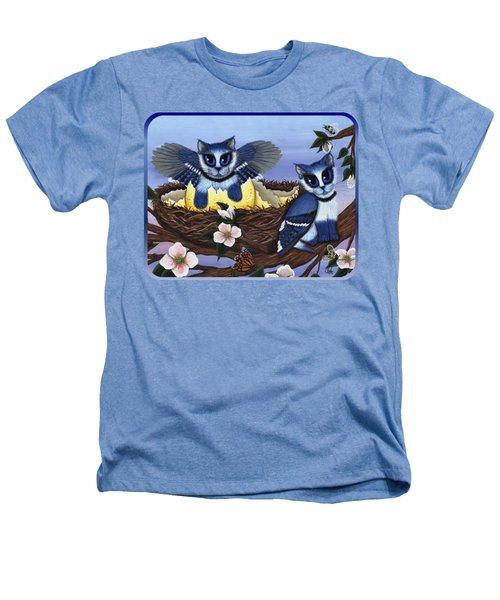 Blue Jay Kittens Heathers T-Shirt by Carrie Hawks