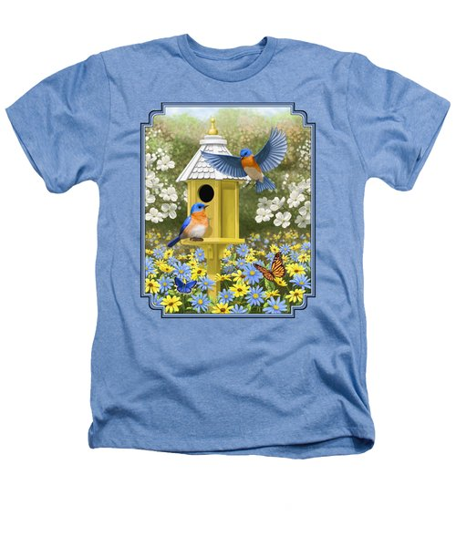 Bluebird Garden Home Heathers T-Shirt by Crista Forest