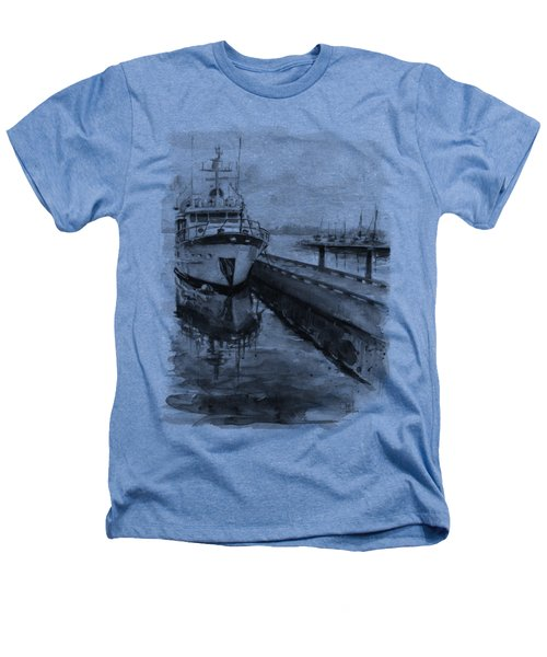 Boat On Waterfront Marina Kirkland Washington Heathers T-Shirt by Olga Shvartsur