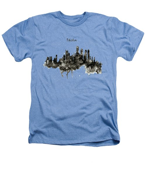Boston Skyline Black And White Heathers T-Shirt by Marian Voicu