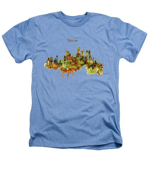 Boston Watercolor Skyline Heathers T-Shirt by Marian Voicu