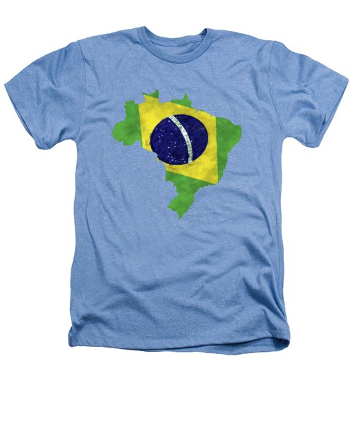 Brazil Map Art With Flag Design Heathers T-Shirt by World Art Prints And Designs