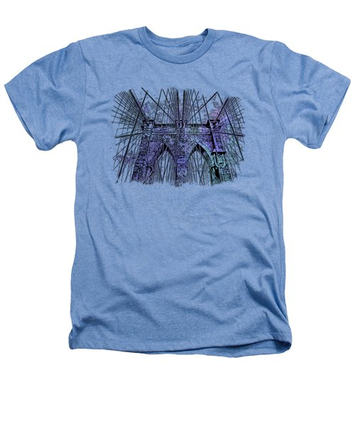 Brooklyn Bridge Berry Blues 3 Dimensional Heathers T-Shirt by Di Designs
