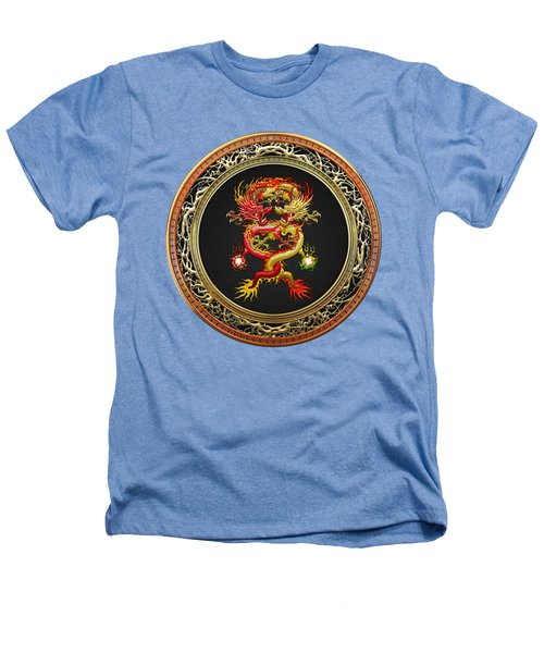 Brotherhood Of The Snake - The Red And The Yellow Dragons On White Leather Heathers T-Shirt by Serge Averbukh