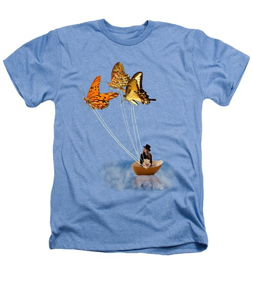 Butterfly Sailing Heathers T-Shirt by Linda Lees