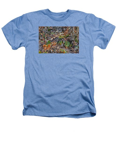 Camouflaged Plumage With Fallen Leaves Heathers T-Shirt by Asbed Iskedjian