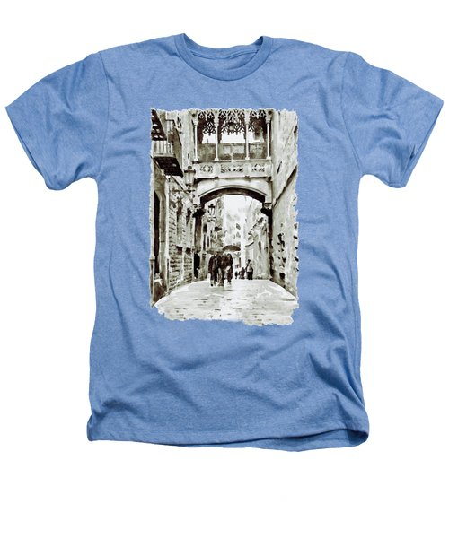 Carrer Del Bisbe - Barcelona Black And White Heathers T-Shirt by Marian Voicu