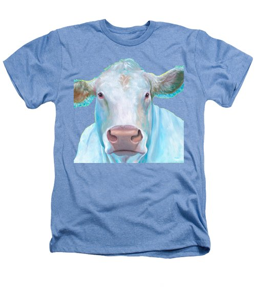 Charolais Cow Painting On White Background Heathers T-Shirt by Jan Matson