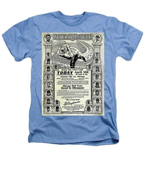 Chicago Cub Poster Heathers T-Shirt by Jon Neidert