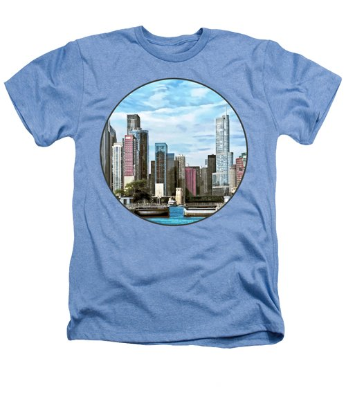 Chicago Il - Chicago Harbor Lock Heathers T-Shirt by Susan Savad