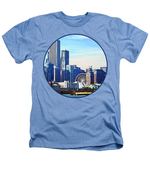 Chicago Il - Chicago Skyline And Navy Pier Heathers T-Shirt by Susan Savad