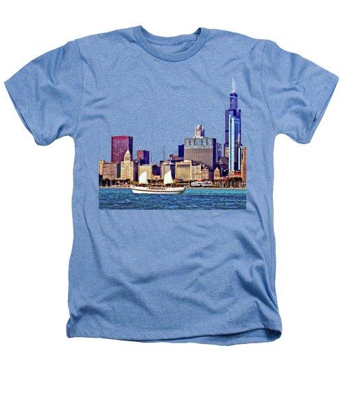 Chicago Il - Schooner Against Chicago Skyline Heathers T-Shirt by Susan Savad