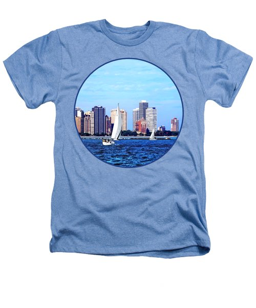 Chicago Il - Two Sailboats Against Chicago Skyline Heathers T-Shirt by Susan Savad