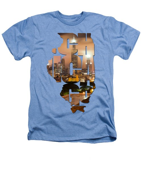 Chicago Illinois Typography - Chicago Skyline From The Rooftop Heathers T-Shirt by Gregory Ballos
