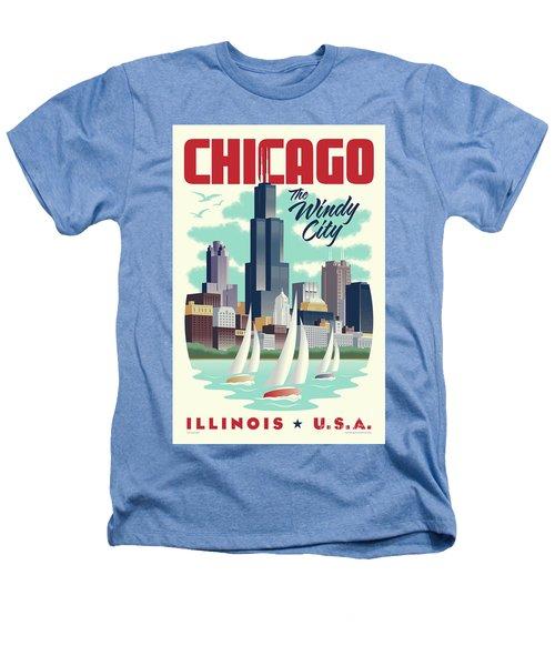 Chicago Retro Travel Poster Heathers T-Shirt by Jim Zahniser