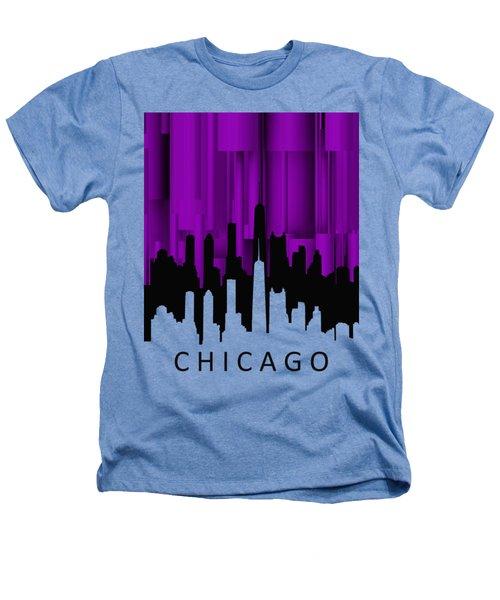 Chicago Violet Vertical  Heathers T-Shirt by Alberto RuiZ