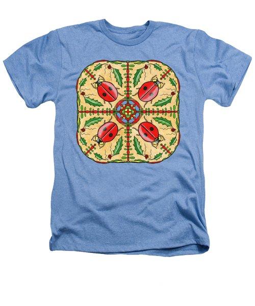 Christmas Ladybug Mandala Heathers T-Shirt by Tanya Provines