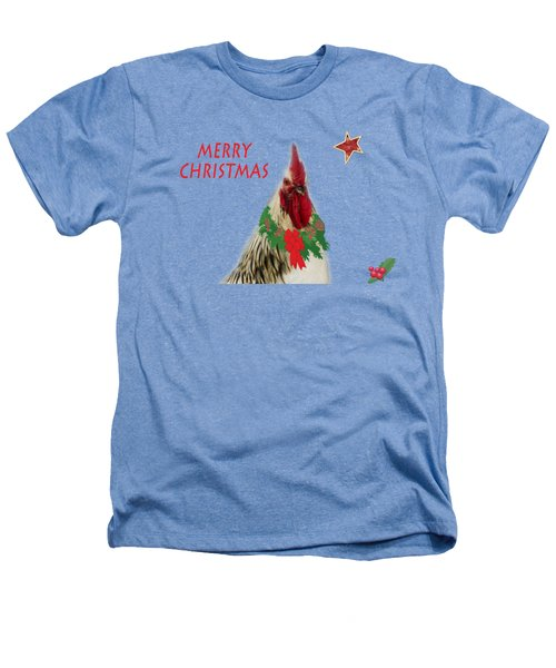 Christmas Rooster Tee-shirt Heathers T-Shirt by Donna Brown