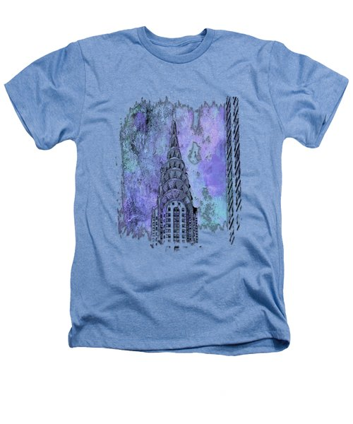 Chrysler Spire Berry Blues 3 Dimensional Heathers T-Shirt by Di Designs