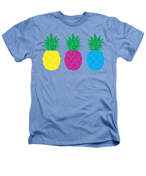 Colorful Pineapples Heathers T-Shirt by Leah Hawkins