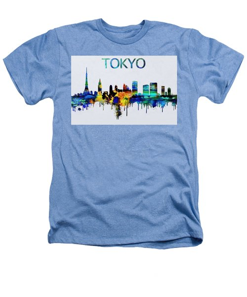 Colorful Tokyo Skyline Silhouette Heathers T-Shirt by Dan Sproul