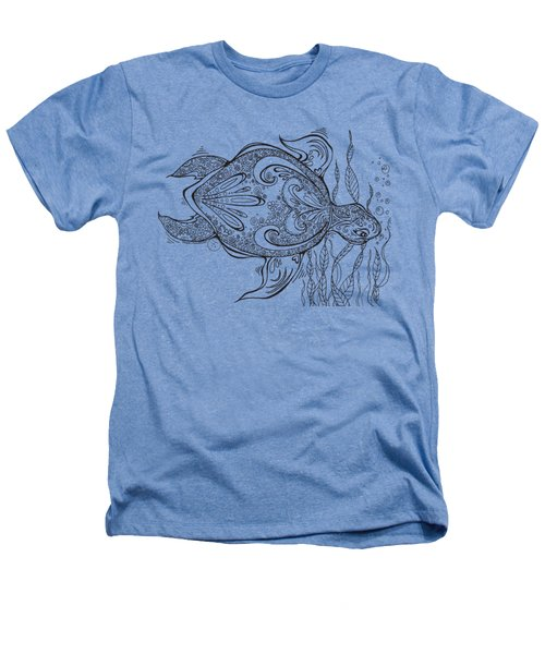 Coloring Page With Beautiful Turtle Drawing By Megan Duncanson Heathers T-Shirt by Megan Duncanson