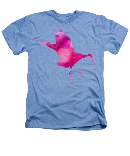 Crane Ready For Flight - Pink Watercolor Heathers T-Shirt by Custom Home Fashions