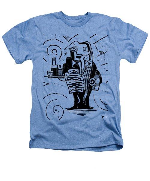 Cubist Waiter Heathers T-Shirt by Erki Schotter