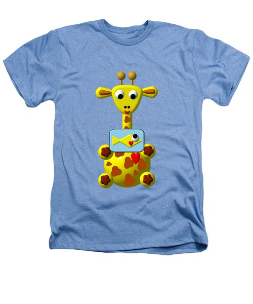 Cute Giraffe With Goldfish Heathers T-Shirt by Rose Santuci-Sofranko
