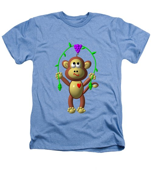 Cute Monkey Jumping Rope Heathers T-Shirt by Rose Santuci-Sofranko
