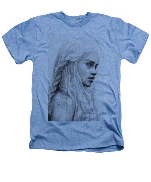 Daenerys Watercolor Portrait Heathers T-Shirt by Olga Shvartsur