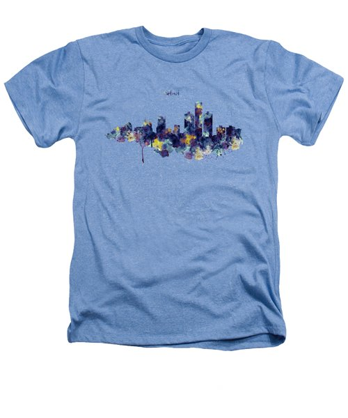 Detroit Skyline Silhouette Heathers T-Shirt by Marian Voicu