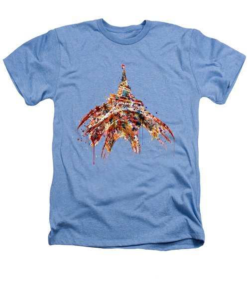 Eiffel Tower Watercolor Heathers T-Shirt by Marian Voicu