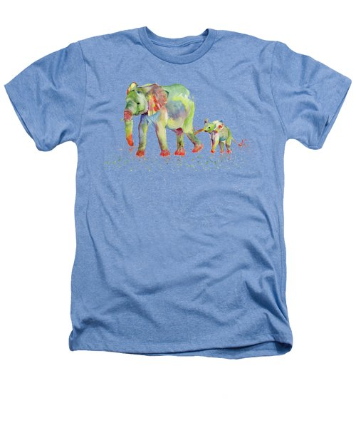 Elephant Family Watercolor  Heathers T-Shirt by Melly Terpening