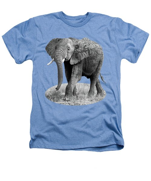 Elephant Happy And Free In Black And White Heathers T-Shirt by Gill Billington