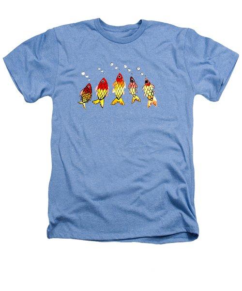Five Bubble Fish Heathers T-Shirt by Candace Ho
