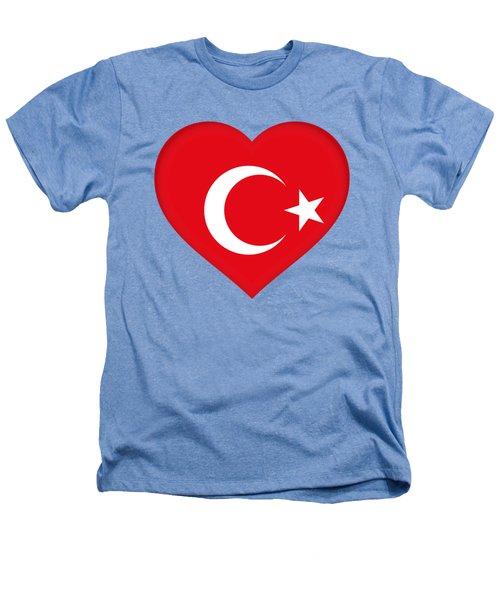 Flag Of Turkey Heart Heathers T-Shirt by Roy Pedersen