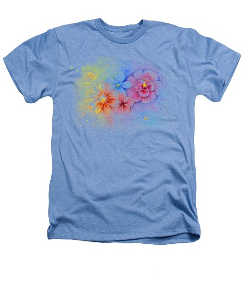 Flower Power Watercolor Heathers T-Shirt by Olga Shvartsur