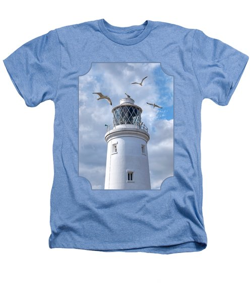 Fly Past - Seagulls Round Southwold Lighthouse Heathers T-Shirt by Gill Billington