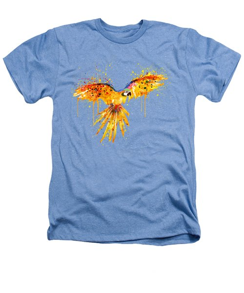 Flying Parrot Watercolor Heathers T-Shirt by Marian Voicu