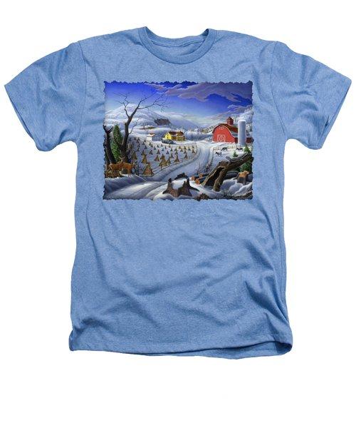 Folk Art Winter Landscape Heathers T-Shirt by Walt Curlee
